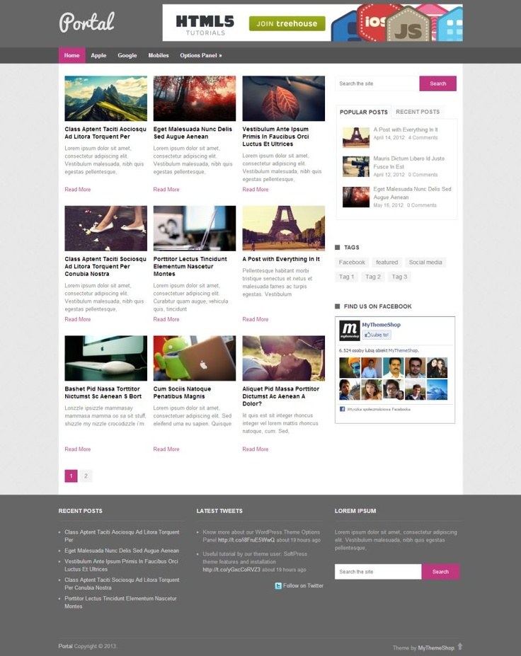 """Portal"" is a very simple, #magazine plus blog style #free Wordpress theme with #Responsive layout."