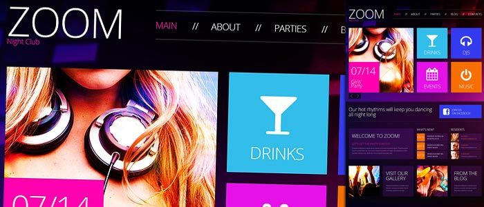 Add the vibe to the night club web presence with this effective modern design with cool mix of colors. It has dark violet background with gradient and the lilac content blocks.