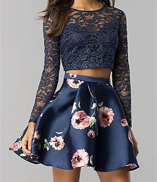 Long-Sleeve Short Two-Piece Navy Homecoming Dress,blue short homecoming dresses