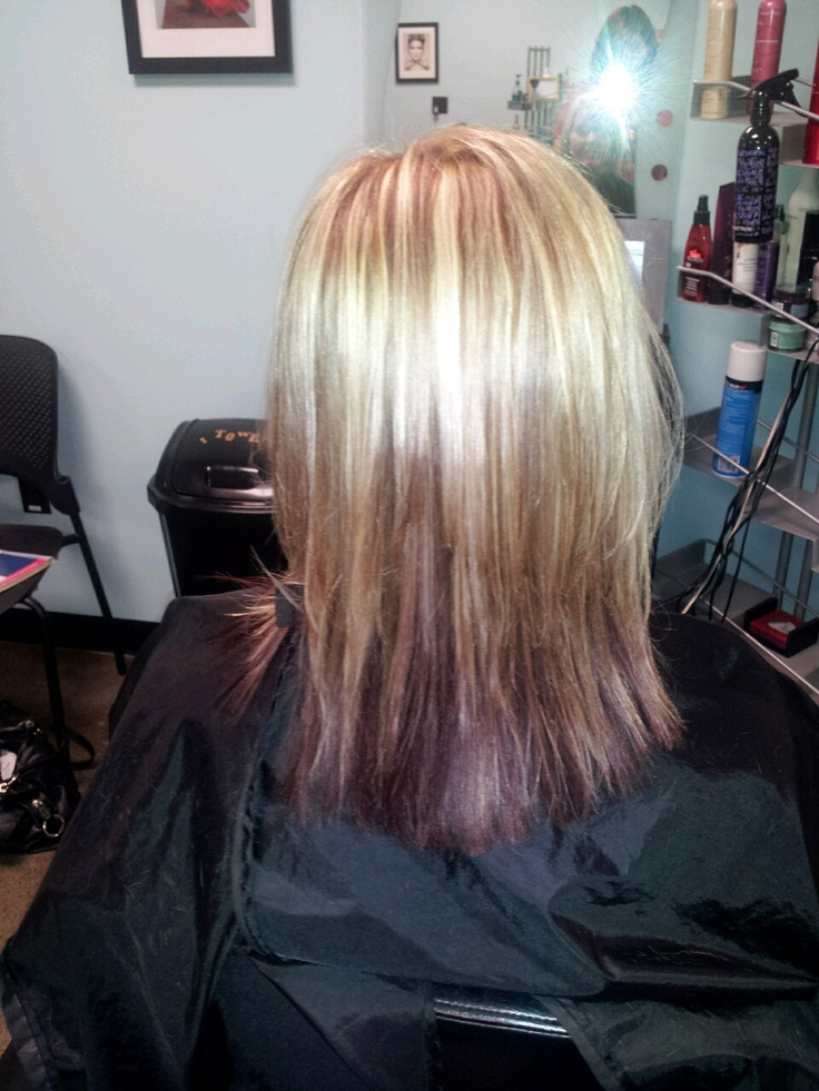 Blonde hilites with browncopper lowlites and burgendy underneath  Cut and Color  Hair Hair