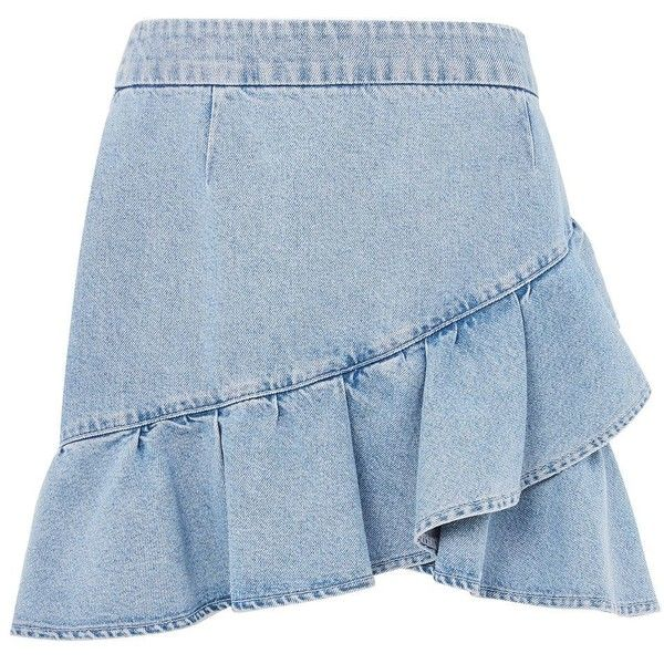 Topshop Moto Denim Ruffle Skirt (€40) ❤ liked on Polyvore featuring skirts, bleach stone, high rise skirts, blue ruffle skirt, high-waisted skirts, denim skirt and high waisted denim skirt