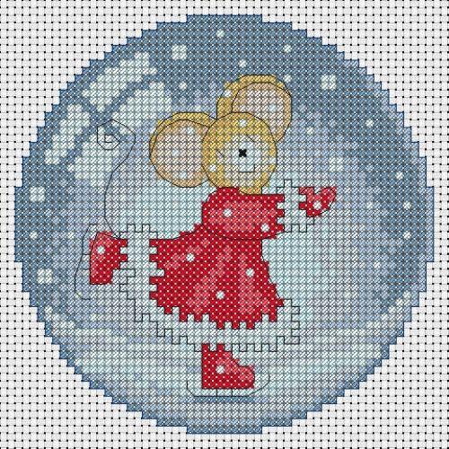 Borduurpatroon - kerst, muis op schaatsen