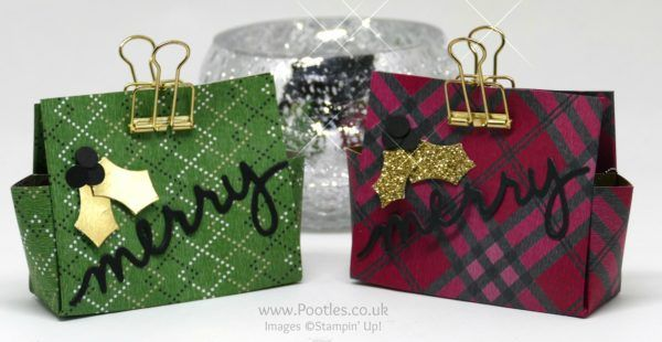Warmth & Cheer DSP Stack, Gold Foil, Holly Berry Builder punch, Gold Glimmer Paper, Gold Binder Clips, Christmas Greetings Thinlits (video on blog) - Pootles Advent Countdown 2016 #14 Chocolate Mice 6 x 6 Treat Bag
