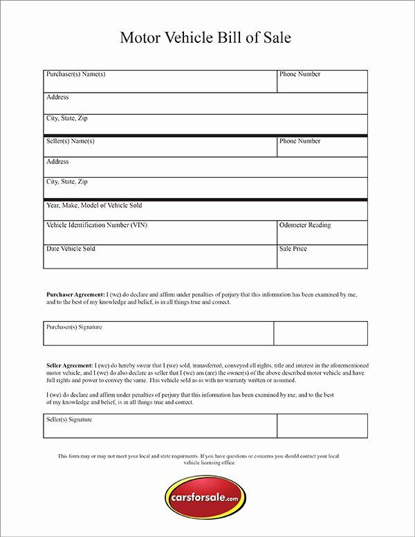 Blank Bill Of Sale Utah Inspirational Free Printable Motor Vehicle Bill Sale In 2021 Bill Of Sale Template Bills Used Cars Online