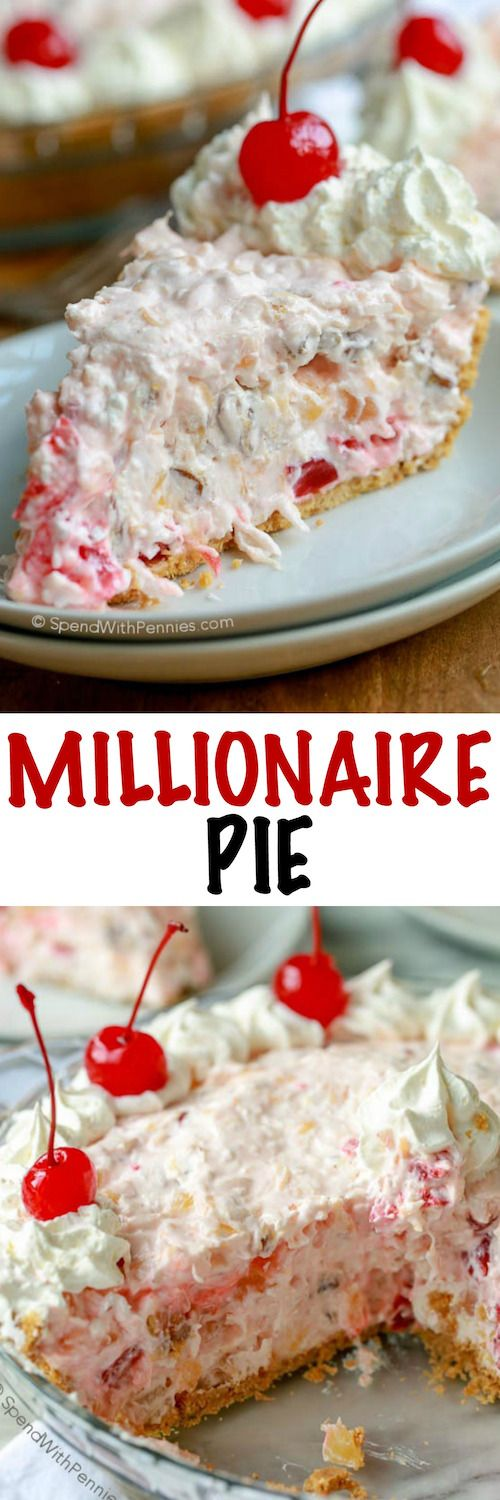 Millionaire Pie is a family favorite.  A rich creamy base is loaded with pecans, coconut, pineapple and cherries. You'll need just about 5 minutes to prepare this pie and no baking is required!