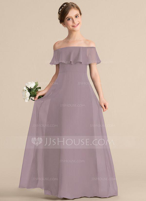 28de5d7237 A-Line Princess Off-the-Shoulder Floor-Length Chiffon Junior Bridesmaid  Dress With Cascading Ruffles