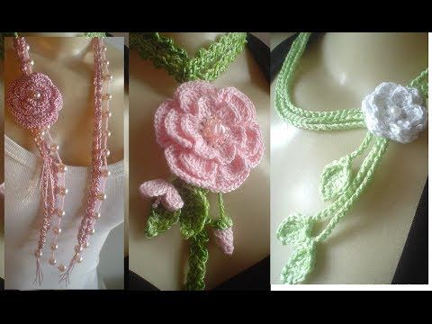 How to crochet beautiful necklace with flowers and pearls - YouTube