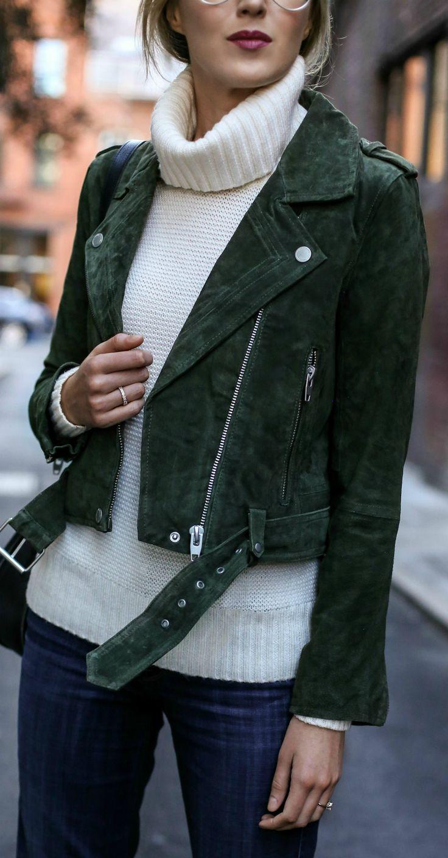 hunter green suede moto jacket, medium wash flare leg jeans, ivory chunky knit cowl neck sweater