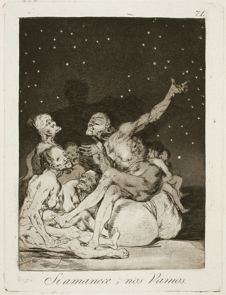 "Francisco de Goya: ""Si amanece, nos Vamos"". Serie ""Los caprichos"" [71]. Etching, aquatint and burin on paper, 196 x 148 mm, 1797-99. Museo Nacional del Prado, Madrid, Spain"