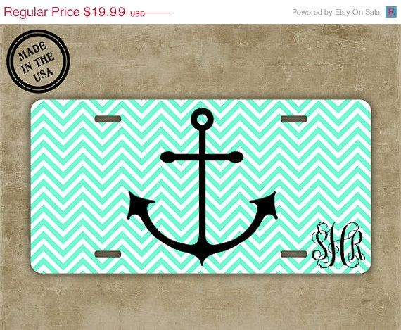 SALE Anchor monogrammed license plate - Mint green chevron - Nautical themed personalized car tag (9960)