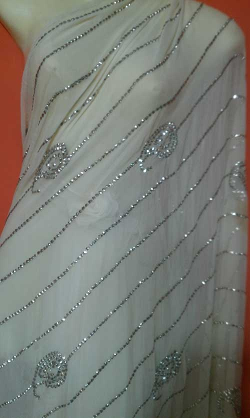 A beautiful Saree of Mukesh work called small Patti.