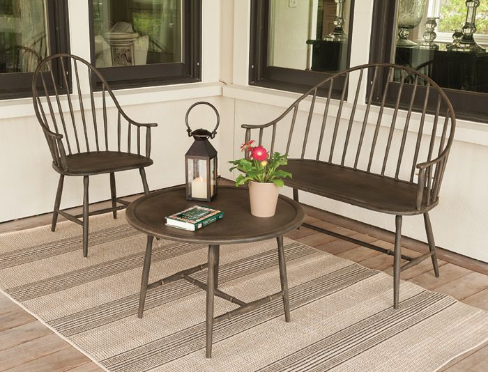 Windsor chair, Windsor settee and table  made out of aluminum for outdoor use! <3