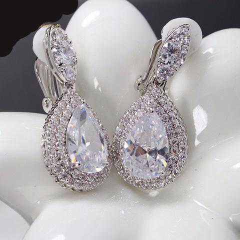 Dazzling Cubic Zirconia Diamond Clip on Earrings