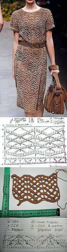Платье крючком.   Вязаные платья крючком