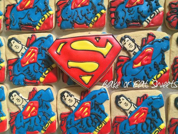 Superman Cookies by BakeorEatSweets on Etsy