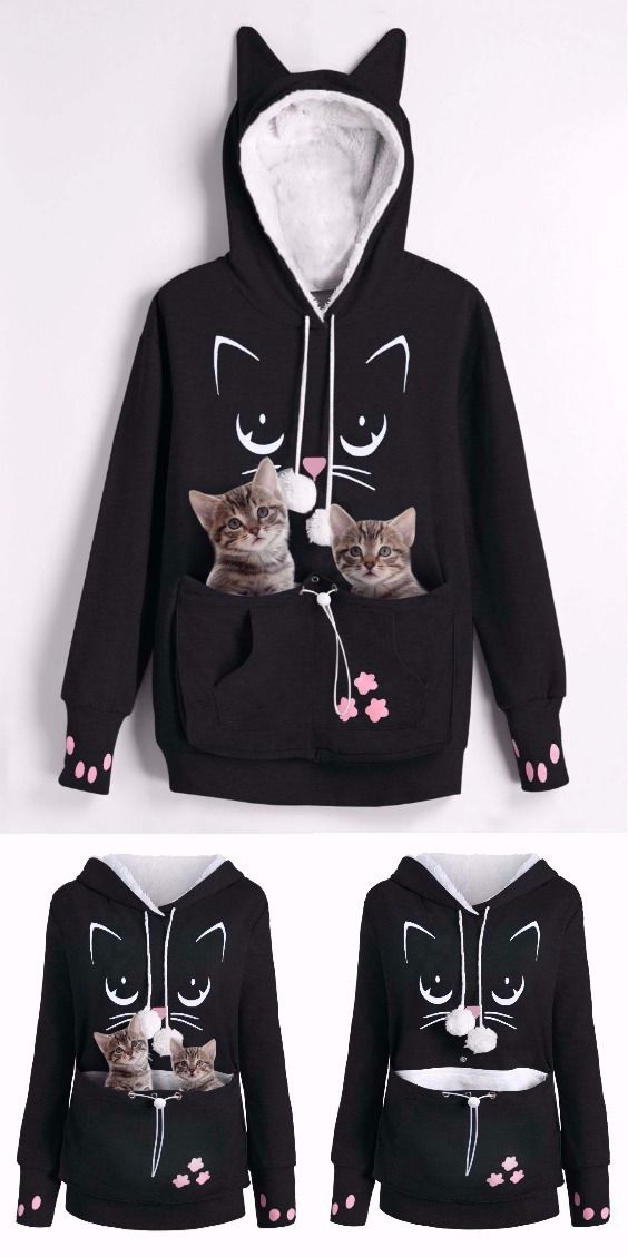 Im Here To Pet All Of The Cats Sweatshirt Funny Cat Harajuku Ladies Jumper Fashion Black White Hoodies Women Autumn Winter Tops Women's Clothing