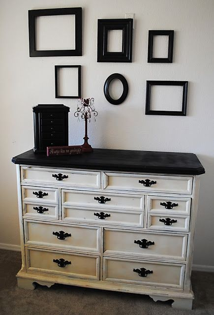 @Jaala Cox Cox Grommisch     This might be a really easy update for your white dresser. Just do the top black and add some funky black hardware. Super fast update!!!