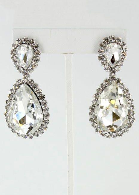 Helen's Heart JE-4601-10 #Rissyroosprom Clear Silver Prom Earrings.