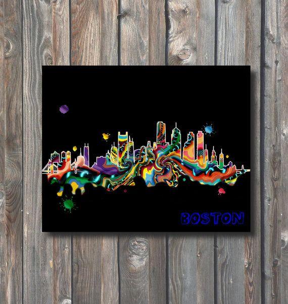 PRINTABLE Boston Skyline Wall Art-Printable by HappyFiestaDesign