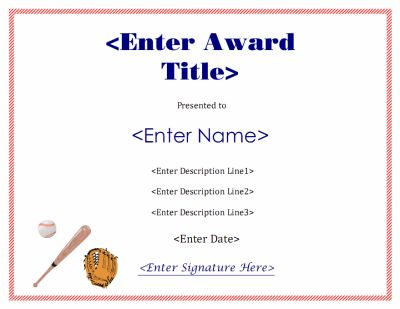A baseball award certificate with ball bat and glove for E certificate templates