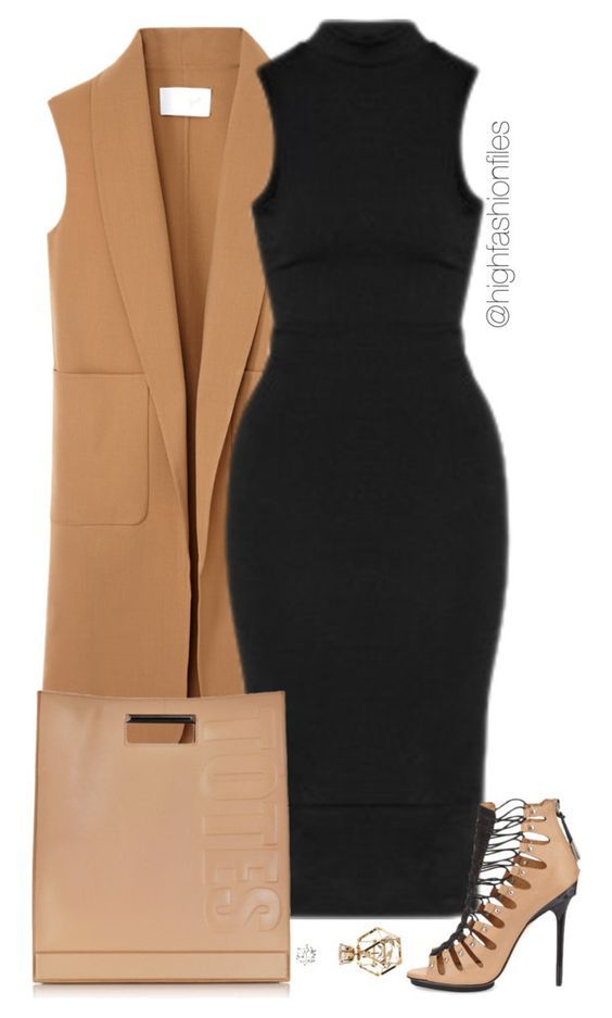 Long Beige Vest and Black Dress