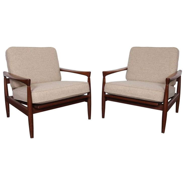 "Pair of Erik Wørts Midcentury Wood Framed ""Kolding"" Lounge Chairs"