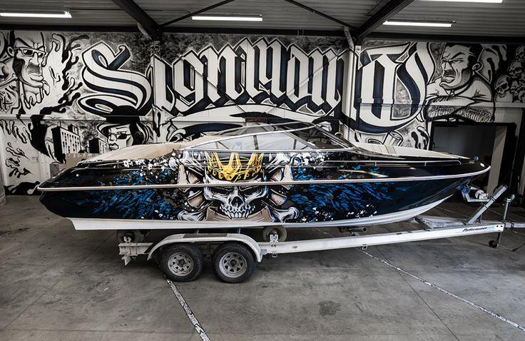 Monerty Skull Boatwrapping #signmania #boatwrapping #boats #boatwrap #wrapping #boat #design - www.signmania.com