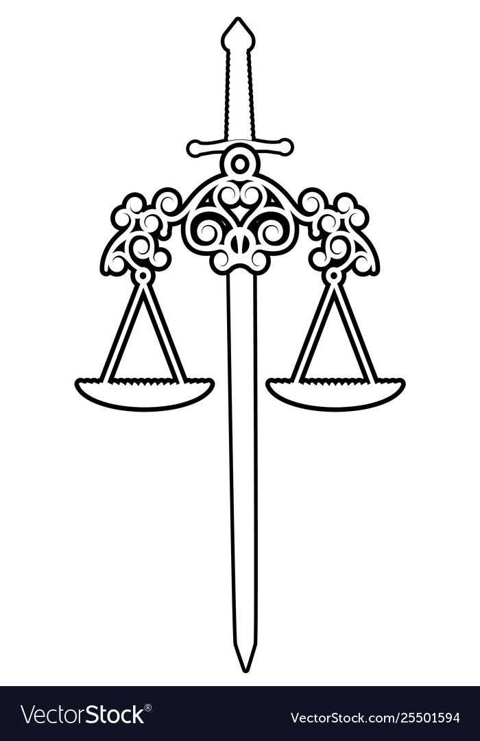 Symbols Justice Scale And Sword Isolated On Vector Image Aff Scale Justice Symbols Sword Ad Justice Tattoo Justice Scale Balance Tattoo