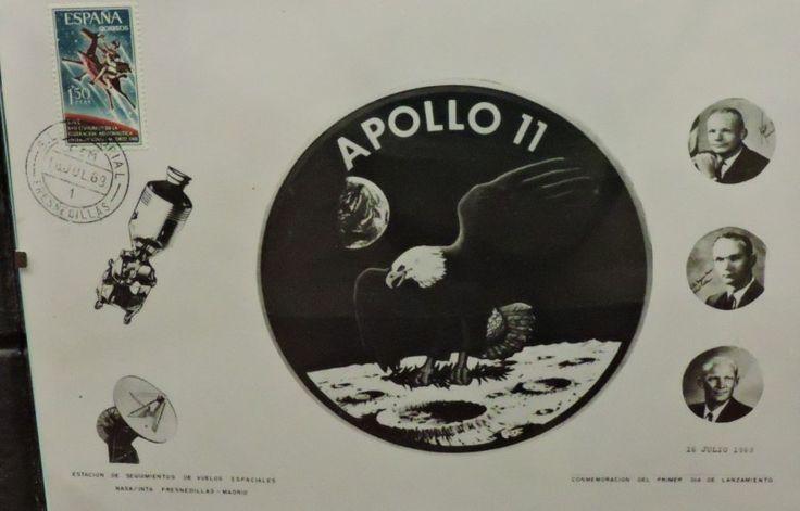 Museo Lunar - Composición relativa al Apolo XI, matasellada el día del lanzamiento en la oficina de Correos de Fresnedillas.