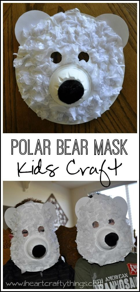 Paper Plate Polar Bear Mask Craft for Kids. Learn about arctic animals and make this fun Polar Bear Mask. Great preschool kids craft. From iheartcraftythings.com