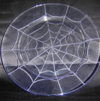 Etched Spider Web Plate by redqueen on Craftster Glass Plates - GLASS CRAFTS Craftster.org