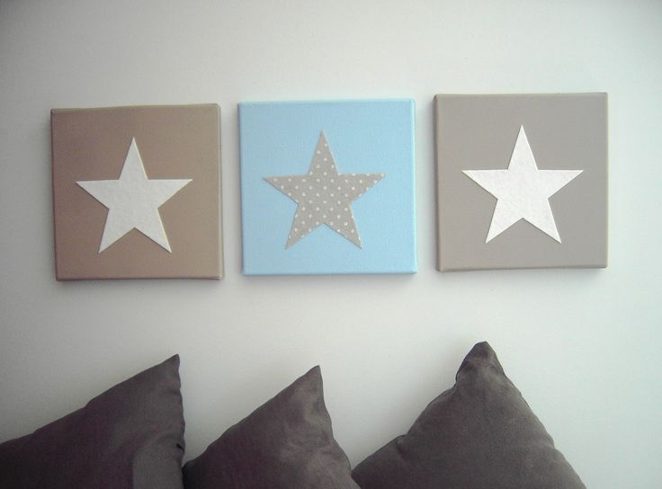Tableau triptyque toiles bleu blanc taupe chambre d for Decoration murale etoile
