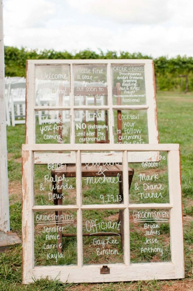 Old window pane wedding ceremony signs then turn into coat hanger in home