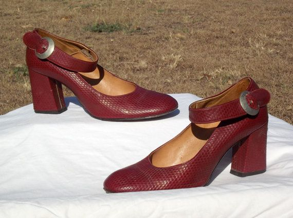 1940s Maroon Leather Mary Jane's 67 40s Dark by VintageSquirrels, $48.95