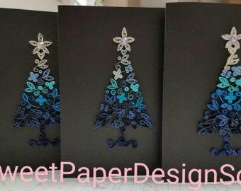 Papier filigraan handgemaakte prachtige Kerstboom-kaart, blanco kaart, art deco, kunst aan de muur, als papier filigraan Art.christmas cadeau