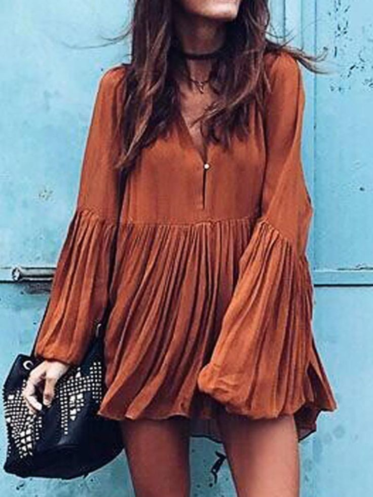 Brown Neck Flare Sleeve Ruched Mini Dress