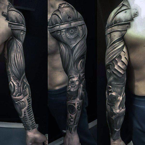 Biomechanical Badass Sleeve Tattoo On Men