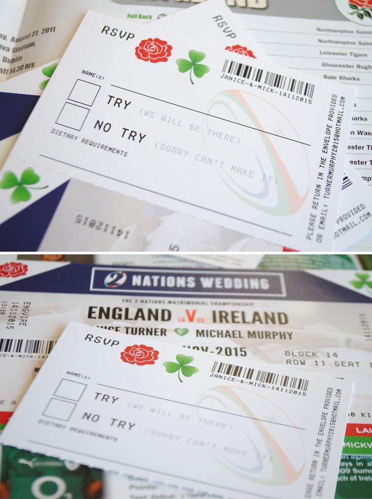 Ireland rugby wedding invitation http://www.wedfest.co/ireland-vs-england-rugby-ticket-wedding-invitations/