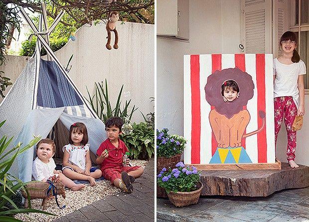 1 O dono da festa, com dois convidados . 2 O painel com leão pintado também é obra da supermãe (Foto: Cacá Bratke/Editora Globo)