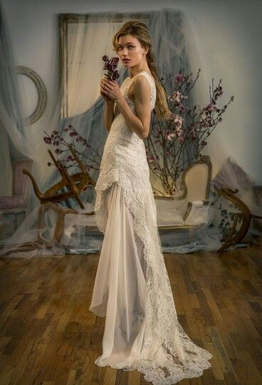 Sleeveless, Embroidered Beaded Lace Wedding Gown With Tank Bodice & Asymmetrical Hemline Featuring Silk Chiffon Underlay; by Elizabeth Fillmore Spring 2016...........