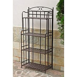 @Overstock - The Santa Fe four-tier shelf features a weather resistant outdoor powder coat finish in matte brown. This bakers rack is weatherproof with UV protection.http://www.overstock.com/Home-Garden/Santa-Fe-4-Tier-Bakers-Rack/6002256/product.html?CID=214117 $139.99