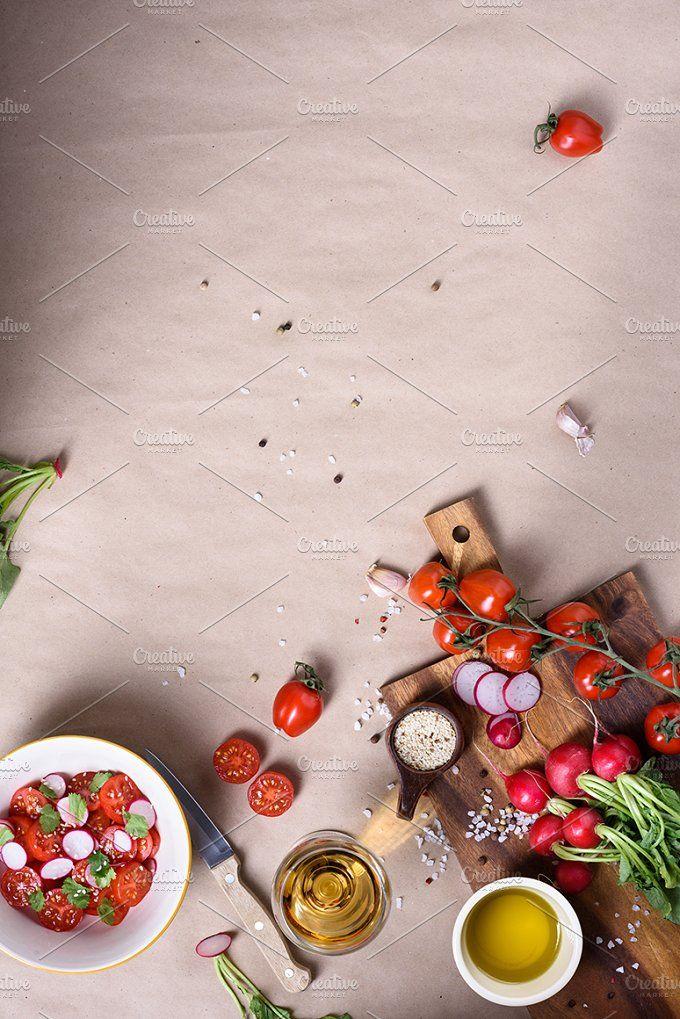 Organic salad ingredients by Iuliia Leonova on @creativemarket