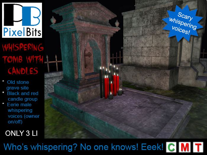 PB - Whispering tomb with candles. Creepy, soft voices!