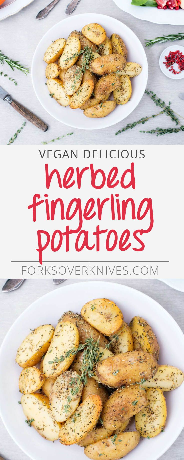 Herbed Fingerling Potatoes - Plant-Based Vegan Recipe