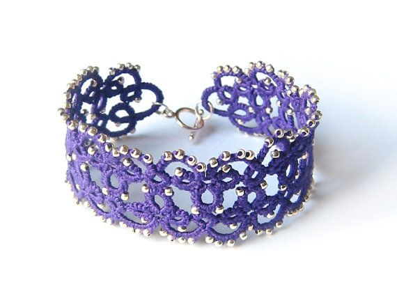 Violet acai lace bracelet with glass beads Purple by LandOfLaces