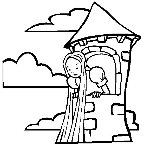 Rapunzel Tower In The Forest Coloring Page