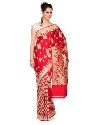 Red Golden Zari weaved  slik saree hand woven banarasi saree withblouse