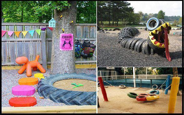 Ideias para parque infantil com pneus reciclados juegos for Parque infantil jardin