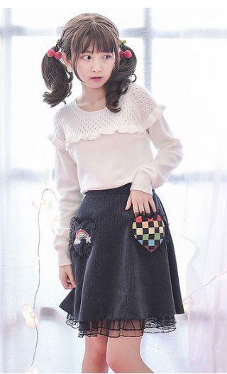 Black embroidered rainbow brace skirt