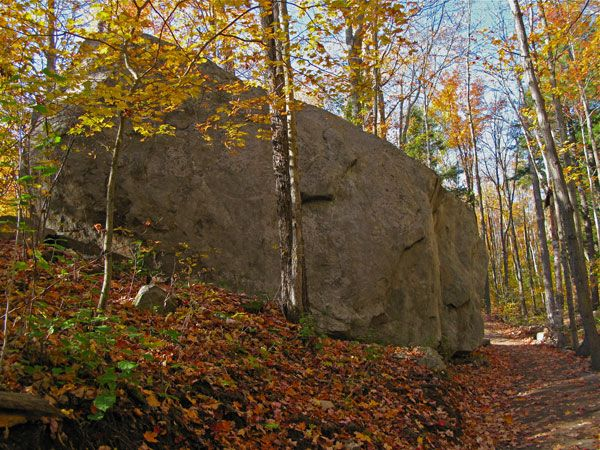 Glacial erratic along the Lookout Trail in Algonquin Park, Ontario, Canada